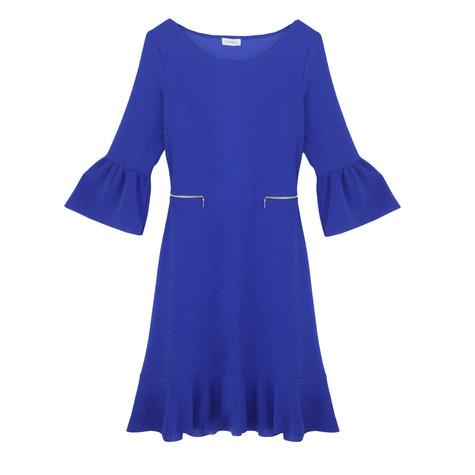 Zapara Royal Blue Flutter Sleeve Round Neck Dress