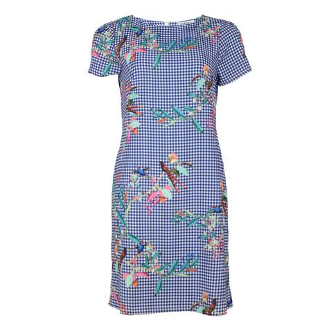 Zapara Blue & White Floral Pattern Dress