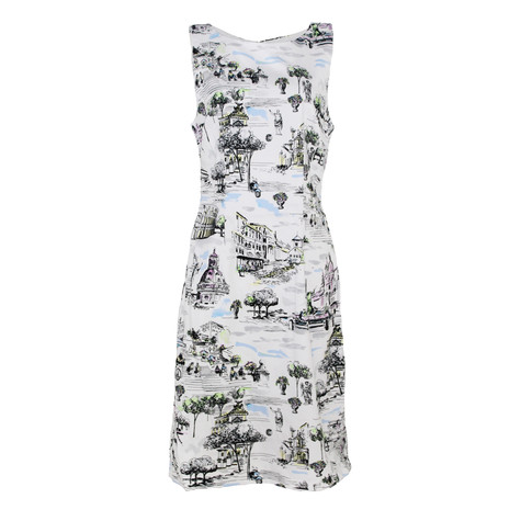 chetta b white rome print sleeveless dress pamela scott