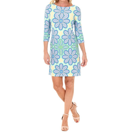 London Times Blue Multi-print Floral Pattern Dress