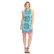 London Times Aqua Multi Print Pattern Dress