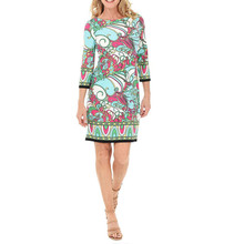 London Times Pink & Turquoise Print Dress
