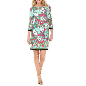 London Times Pink & Turquoise Print Dress
