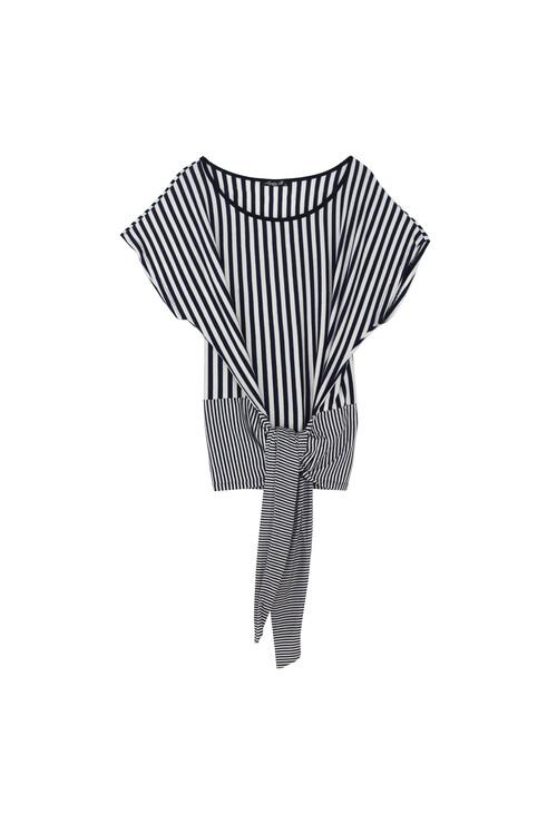 Sophie B Big Tie Navy Stripe Top