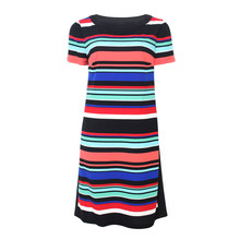 London Times Multi Colour Stripe Round Neck Dress