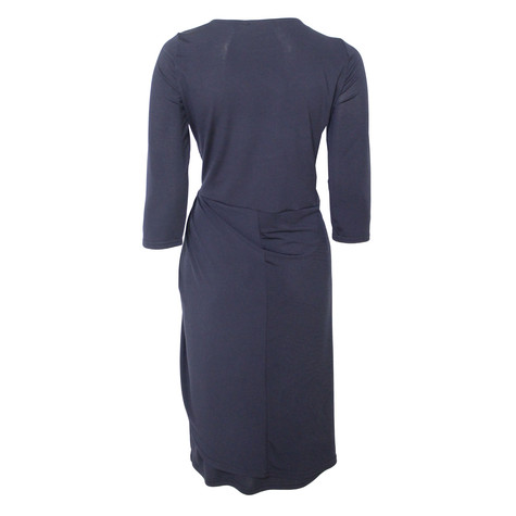 Zapara Navy Wrap Waist Dress