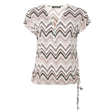 SophieB Beige & Pink Abstract Print Zip Detail Top