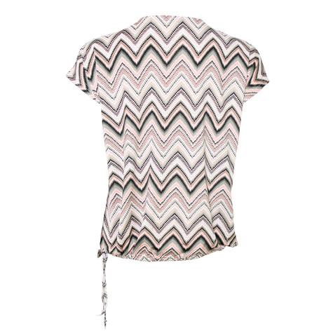 SophieB Beige & Pink Abstract Print Zip Detail Top