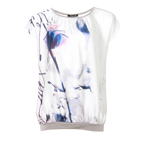 SophieB Blue & Cream Digital Print Top