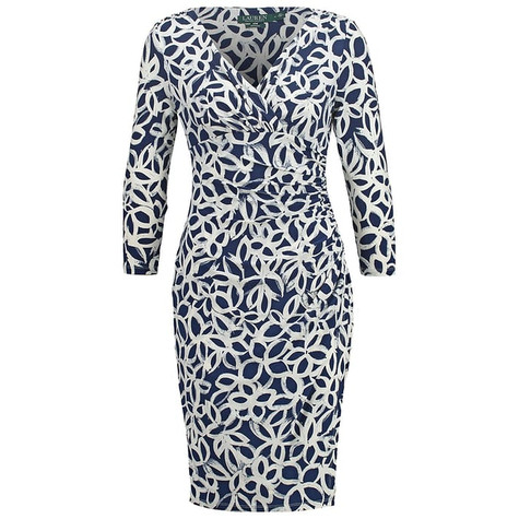 Lauren by Ralph Lauren Paisley Cream & Navy Pattern Dress