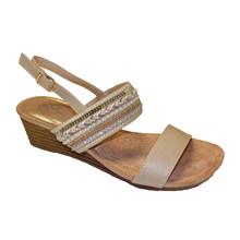 Beige Bead Detail Wedge Sandals