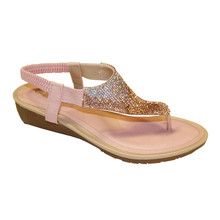 Pink Diamante Post Toe Sandal