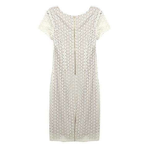 Ronni Nicole Ivory & Nude Laser Cut Dress