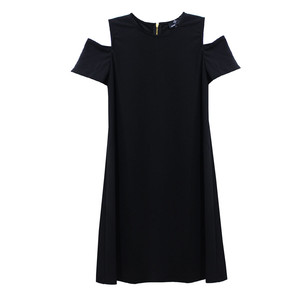 Ronni Nicole Black Cold Shoulder Round Neck Dress
