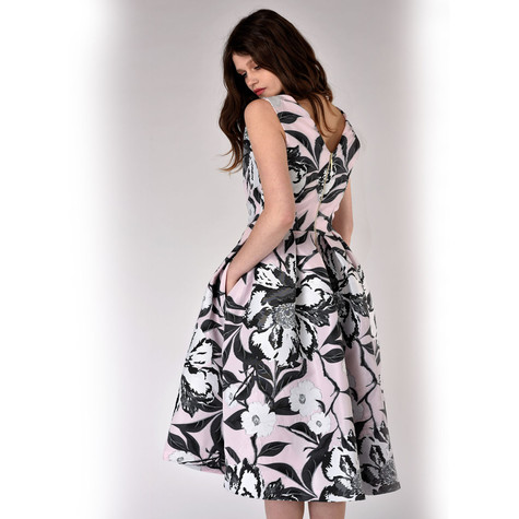 Closet Pink and Black Floral V-Neck Pleated Dress