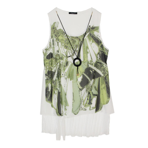 SophieB Green & Cream Sleeveless Top