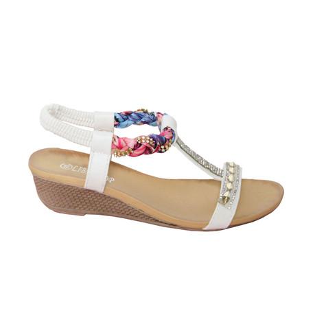 Libra Pop White T Bar Plait Detail Sandal