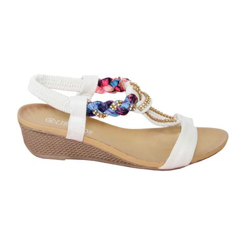 Libra Pop White Diamante/ Plait Detain Sandal