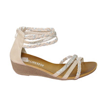 Libra Pop Beige Plait Zip Back Sandal