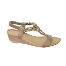 Libra Pop Khaki Diamante/ Plait Detail Sandal