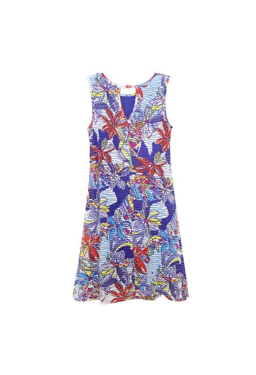 Ronni Nicole Blue & White Floral Sleeveless Dress