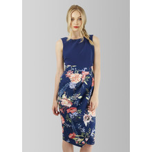 Closet Floral Skirt Draped Midi Dress
