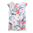 Twist Frill Shoulder Floral Print Top