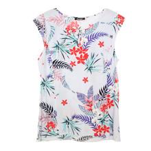 Twist Frill Shoulder Floral Print Top