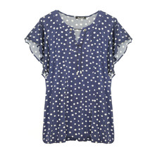Twist Navy Eyelet Neckline Top