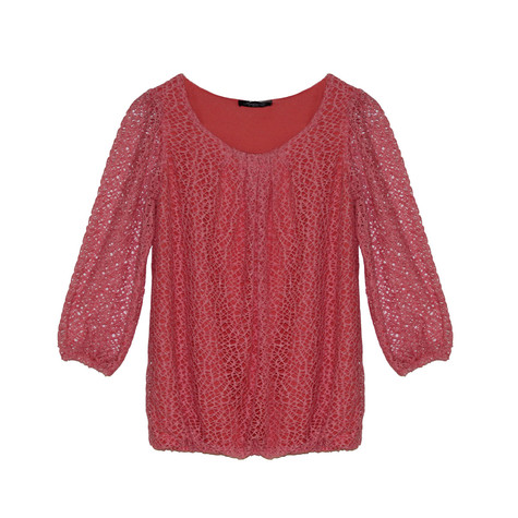 SophieB Coral Mesh Round Neck Top