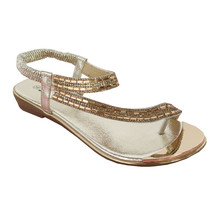 Style Shoes Gold Diamante Strap Sandal