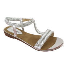 Style Shoes Silver T-Bar Diamante Sandals