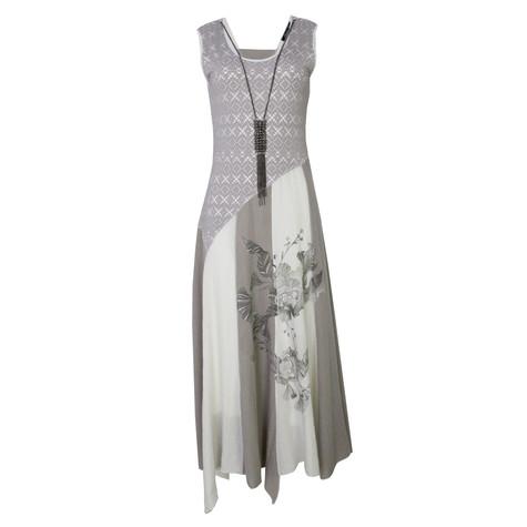 SophieB Beige Long Necklace Detail Dress