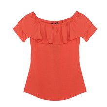 SophieB Orange Frill Bardot Top