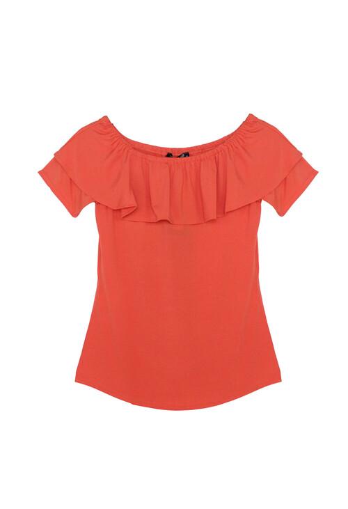 Sophie B Orange Frill Bardot Top