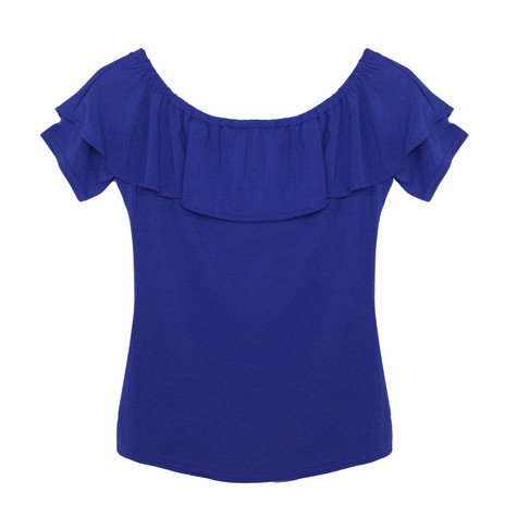 SophieB Blue Frill Bardot Top