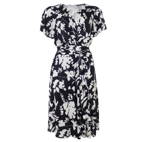 Zapara Navy & White Floral Belt Detail Dress