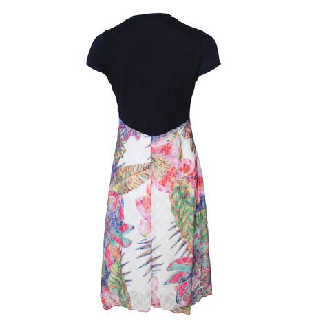 SophieB Navy V-Neck Flower Panel Dress