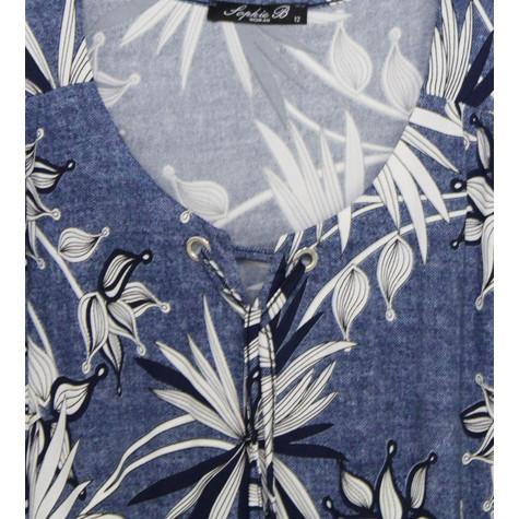 SophieB Denim Leaf Pattern Print Top