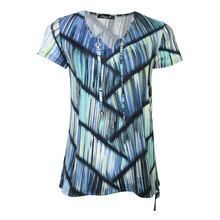 SophieB Aqua Graphic Print V-Neck Dress