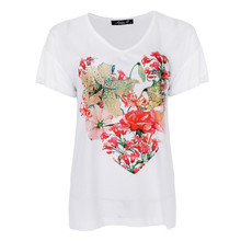 SophieB White V-Neck Flower Print Top