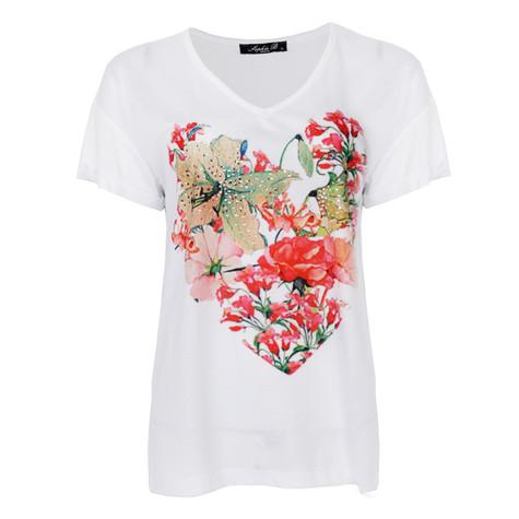 SophieB White V-Neck Flower Print Top
