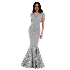 Goddiva Silver Long Lace Bardot Dress