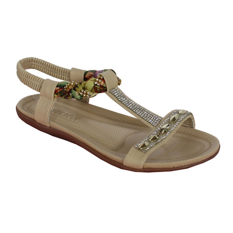 Libra Pop Beige Plait Detail Diamante T Bar Flat Sandal