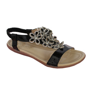 Libra Pop Black Floral Detail Diamante Flat Sandal