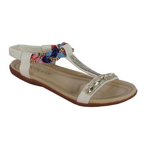 1d3e0d3fe65d Libra Pop White Plait Detail Diamante T Bar Flat Sandal