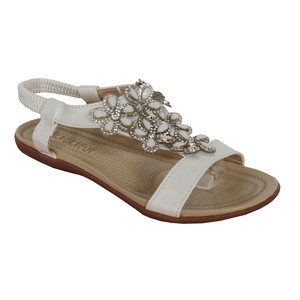 Libra Pop White Floral Detail Diamante Flat Sandal