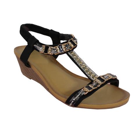 Libra Pop Black T Bar Diamante Detail Wedge Sandal