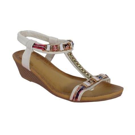 e149b193fabf Libra Pop White T Bar Diamante Detail Wedge Sandal