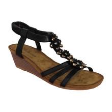 Million Bonheures Black Floral Detail Soft Strap Wedge Sandal